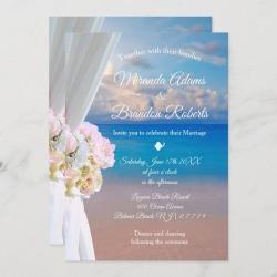 Elegant Floral Ocean Beach Summer Sunset Wedding Invitation found on Bargain Bro Philippines from Zazzle for $2.51