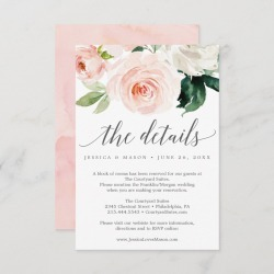 Blushing Blooms Wedding Details Card found on Bargain Bro Philippines from Zazzle for $1.95