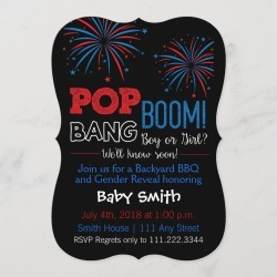 July 4th Themed Gender Reveal Invite found on Bargain Bro Philippines from Zazzle for $2.91