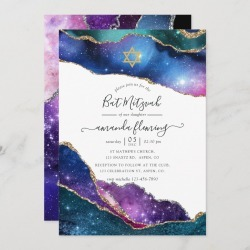 Galaxy Agate Bat Mitzvah Invitation found on Bargain Bro Philippines from Zazzle for $2.51