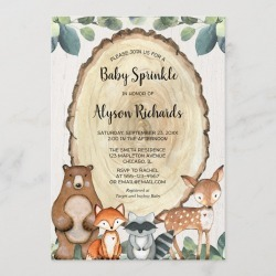 Woodland gender neutral greenery baby sprinkle Invitation found on Bargain Bro Philippines from Zazzle for $2.55