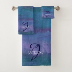 Blue Ombre Abstract Teal Violet Purple Monogram Bath Towel Set found on Bargain Bro Philippines from Zazzle for $52.73