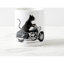 Black Cat Riding A Motorcycle Coffee Mug