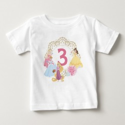 Disney Princess Floral Gold Birthday Baby T-shirt, Toddler Unisex, Size: 24 Month, White found on Bargain Bro Philippines from Zazzle for $14.50