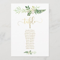Greenery and faux gold wedding table plan card found on Bargain Bro Philippines from Zazzle for $2.61