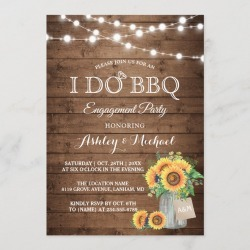 I DO BBQ Engagement Party Sunflowers String Lights Invitation found on Bargain Bro Philippines from Zazzle for $2.30