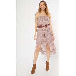 Dusty Mauve Floral Print Belted High Low Dress