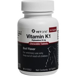 Veta-K1 For Dogs & Cats 25mg (per chew tabs) found on Bargain Bro from entirelypetspharmacy.com for $0.23