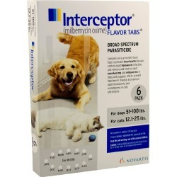 Interceptor for Dogs 51-100 lbs & Cats 12.1-25 lbs (White) - 6 Flavor Tabs