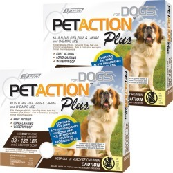 PetAction Plus Flea & Tick Treatment for XLarge Dogs 89-132 lbs - 6 MONTH