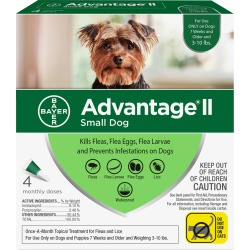 4 MONTH Advantage II Flea Control for Small Dogs (under 10 lbs)