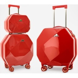 Traveler's Club Kensie Octagon 3-Piece Hardside Luggage Set - Red