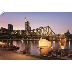 A1 Poster. Eiserner Steg Bridge and financial district at found on Bargain Bro Philippines from Media Storehouse for $76.47