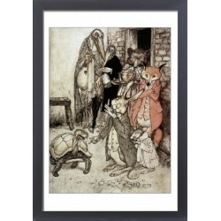 Large Framed Photo. The Tortoise and the Hare. Illustration by