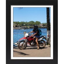 Framed Photo. Woman and child on Honda motorcycle, Chile 2019.