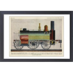 Large Framed Photo. Coloured engaving of a locomotive engine by