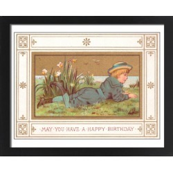 Large Framed Photo. Boy lying on grass on a birthday card found on Bargain Bro Philippines from Media Storehouse for $180.45