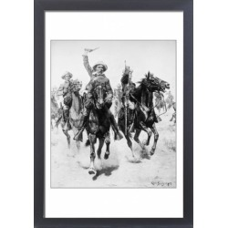 Large Framed Photo. SCHREYVOGEL: CHARGE. Oil on canvas by