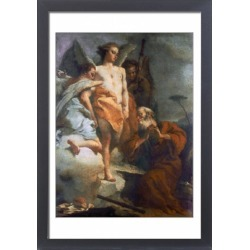 Large Framed Photo. ABRAHAM & ANGELS. Oil on canvas by