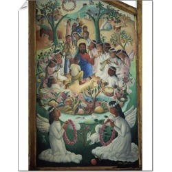 14 inch Photo. Vision of heaven, tryptych panel painted by