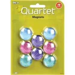 Quartet 1 inch Multicolor Magnets 8 pack - Office Supplies