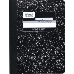 Mead Black Marble Composition Book - Composition Books