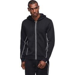 Men's Logo Trim Zip Hoodie | Black | Size Large | True Religion