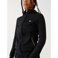 Womens Slim Zip Up Hoodie   Black   Size X Small   True Religion