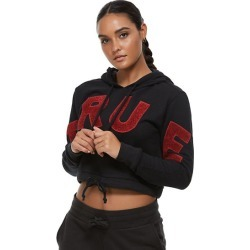 Women's Crop Hoodie | Black | Size XX Large | True Religion