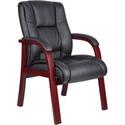 Dawson Guest Armchair with Wood Frame and Vinyl Upholstery - Officient found on Bargain Bro India from officefurniture.com for $266.00