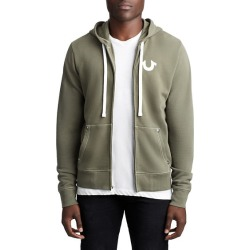 Mens Flocked Buddha Zip Up Hoodie | Military Green | Size XX Large | True Religion