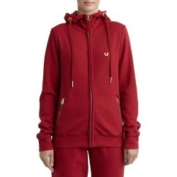 Womens Slim Zip Up Hoodie   Ruby Red   Size X Small   True Religion