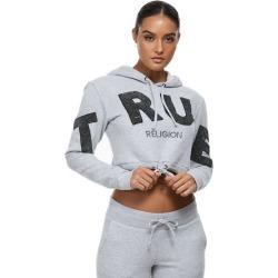 Women's Crop Hoodie   Heather Grey   Size X Small   True Religion