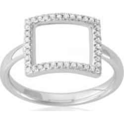 Belk & Co.  Diamond Open Rectangle Midi Ring in 14k White Gold
