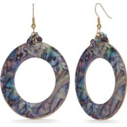 New Directions  Gold-Tone Blue Lagoon Ring Drop Earrings