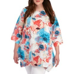 Grace Elements  Plus Size Watercolor Floral Tunic