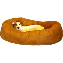 Majestic Suede Bagel Dog Bed MD Rust