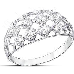 Diamond Dazzle Women's Lattice Design Diamond Ring