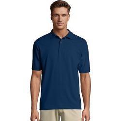 Hanes Men's Cotton-Blend EcoSmart Jersey Polo Navy L found on Bargain Bro Philippines from Hanes Underwear for $7.00