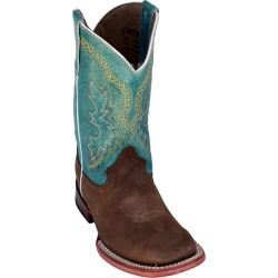 Ferrini Kids Cowhide Sq Toe Choc/Turq Boots 11 found on Bargain Bro India from Horse.com for $89.99
