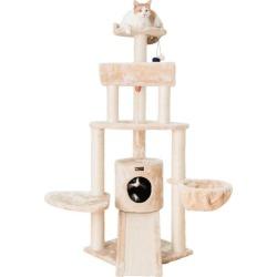 Armarkat A5806 Thick Fur Cat Tower w/Basket Lounge