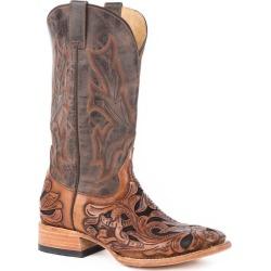 Stetson Mens Sq Toe Brn Handtooled Boots 11 D