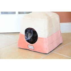 Armarkat Velvet Orange and Beige Pet Cave Bed