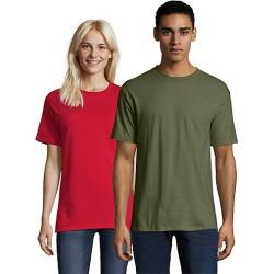 Hanes Beefy-T Crewneck Short-Sleeve T-Shirt Fatigue Green S