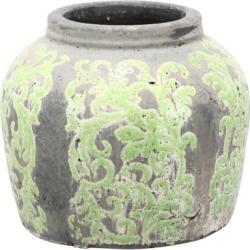 """David Tutara Home 9-1/2"""" x 8"""" Terracotta Jar - Green Green"""