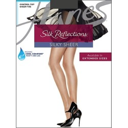 Hanes Silk Reflections Control Top Sheer Toe Pantyhose Barely Black AB