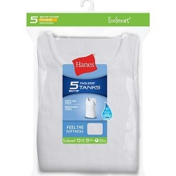 Hanes EcoSmart Boys' Tank 5-Pack White XL found on Bargain Bro India from Hanes Underwear for $7.49