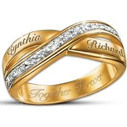 Eternity Personalized Double Band Diamond Ring: Romantic Jewelry Gift - Personalized Jewelry