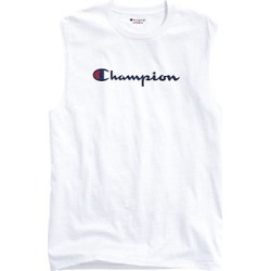 Champion Men's Classic Jersey Muscle Tee, Script Logo White M