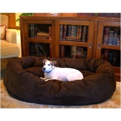 Majestic Suede Bagel Dog Bed SM Rust